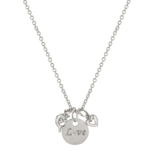 love dolphin heart silver necklace