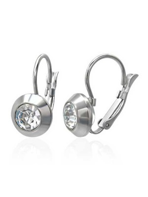 moon stainless steel cz earrings