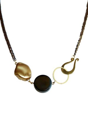 Amelia onyx gold one of a kind necklace