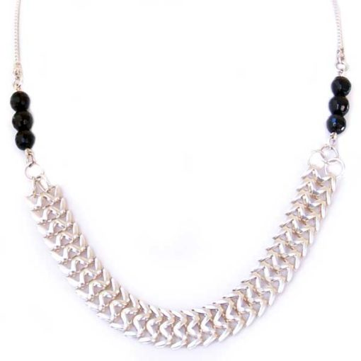 Lisa silver black statement necklace