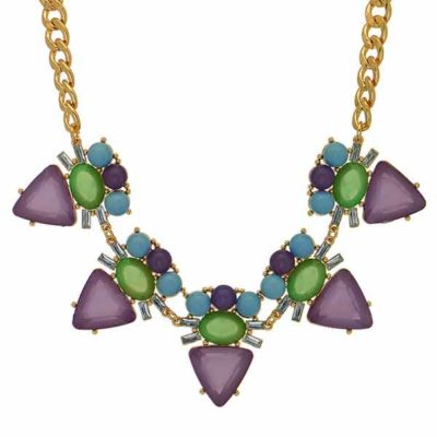 lauren purple green statement necklace