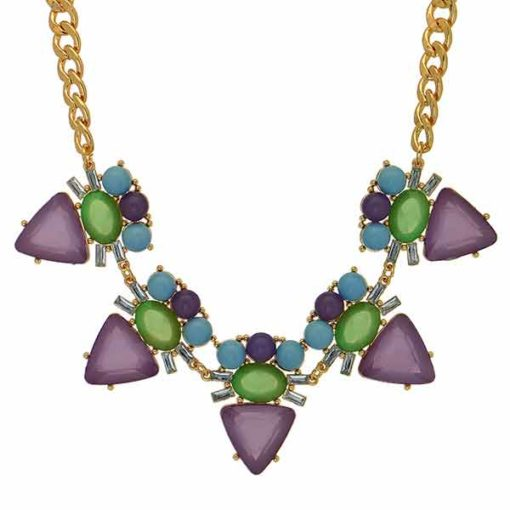lauren purple green statement necklace