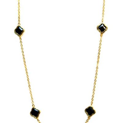 Alma and co clover gold black long necklace