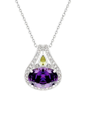 "Fit for a queen the Elizabeth pendant will add a wonderful touch of elegance to any outfit. Faceted amethyst stone set on prongs, surrounded by clear cubic zircons and accented with a peridot CZ in a tear drop design. Crafted on a thick rhodium plated alloy finish and hanging from a chain. Approximately 16"" length plus 2"" extender. Lobster clasp."