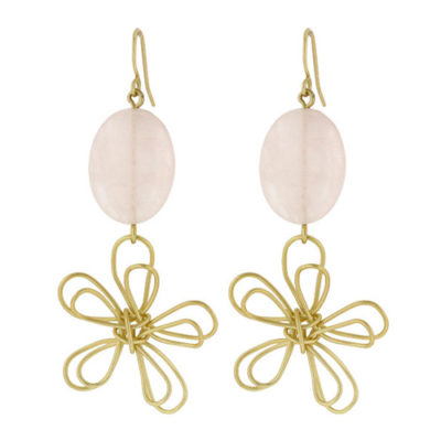 emily gold pink quartz earrings