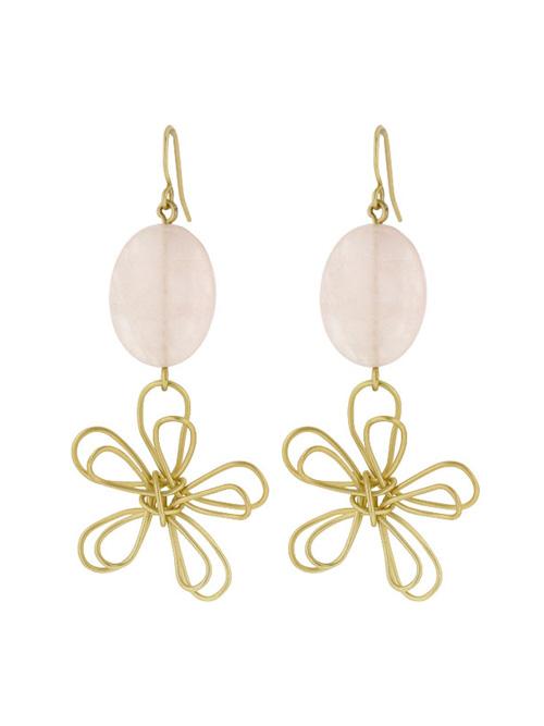 emily gold pink quartz earrings