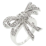 Bow silver cocktail ring
