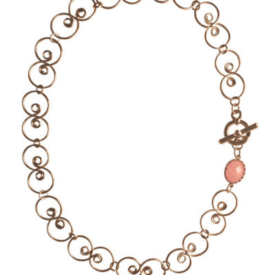 alma and co camelia gold and pink quartz necklace