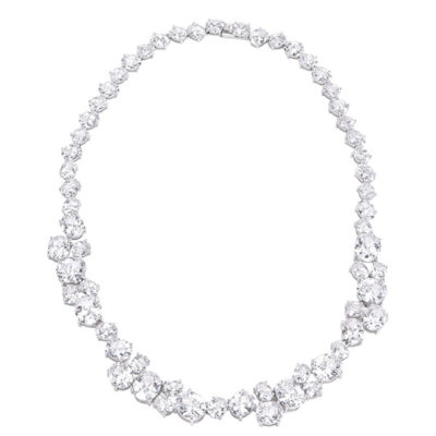 Gala cz platinum silver statement necklace
