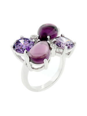 Elizabeth purple silver cocktail ring