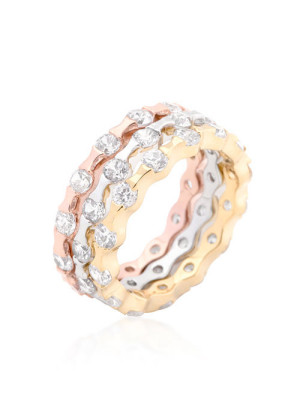 Tiffany stackable tritone gold silver rings