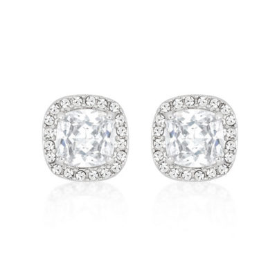 stud earrings with a center cubic zircon and a halo
