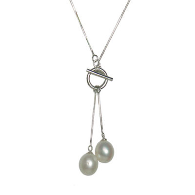 Alma & Co. Chelsea Necklace. .925 Silver and freshwater pearl necklace with toggle clasp in front. 18""