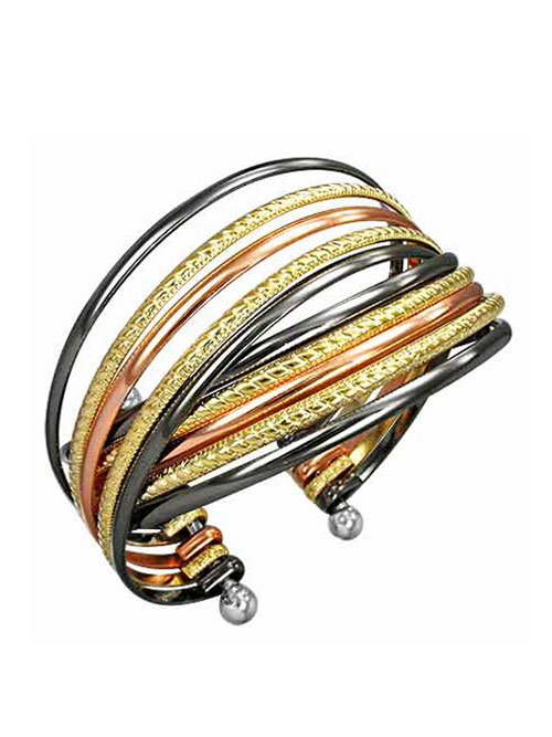 Alma & Co. Tricolor cuff bracelet. Mix of metals and textures cuff bracelet