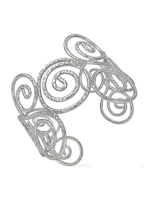 Alma & Co. circles cuff bracelet. Silvertone cuff bracelet with a hammered style finish.