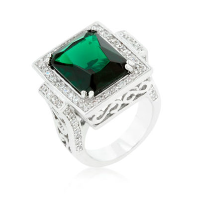Alma & Co. Lidia ring. Magnificent green cubic zirconia cocktail ring has shiny silver tone polish and filigree craftsmanship