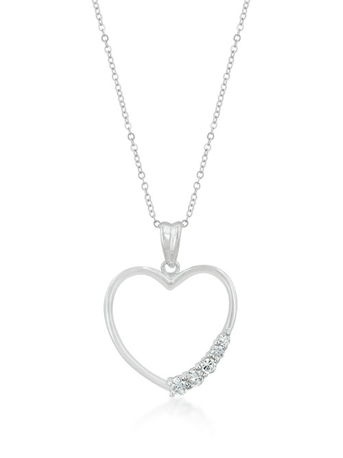 alma and co silver heart with zircons pendant necklace