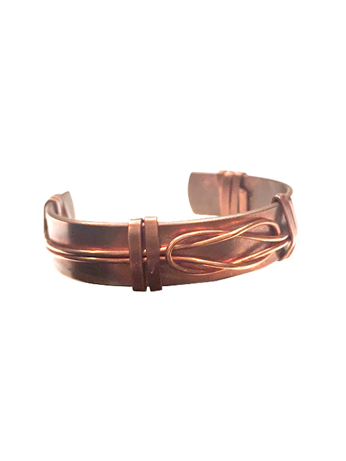 copper love knot cuff bracelet alma and co