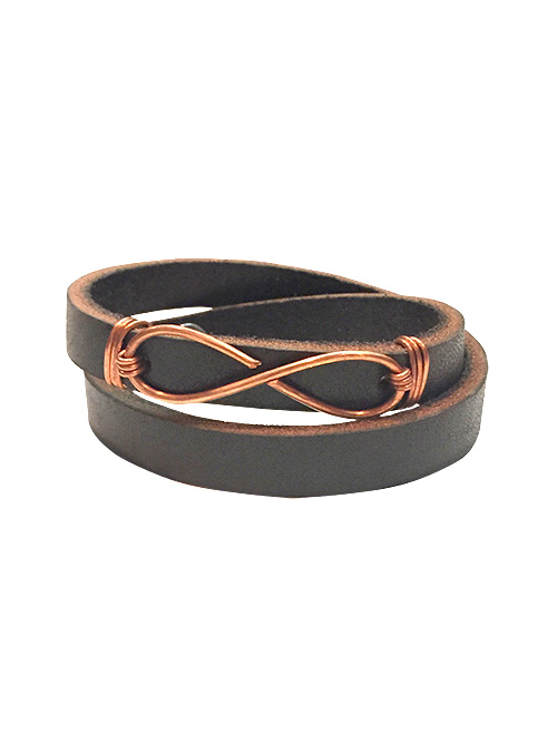 belt & wire infinity leather bracelet for alma and co