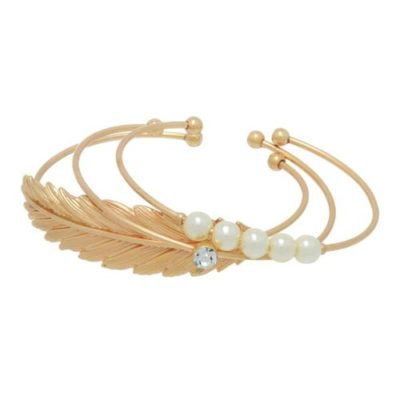 alma and co bellisima stacking bracelets pearl gold cuff