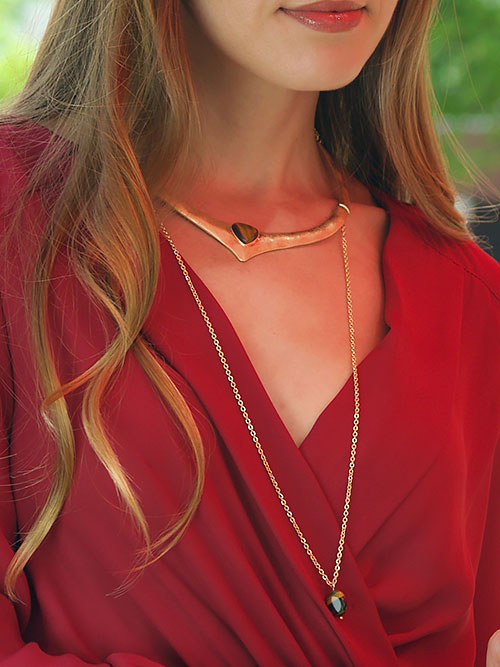 alma and co gold statement choker necklace
