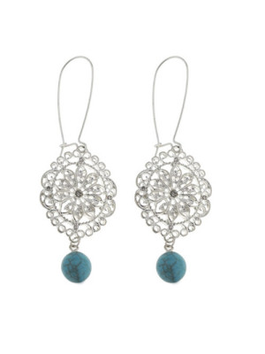 alma and co turquoise earrings with silver filigree